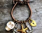 Davy Jones' Locker Copper Vintage Charm Holder Assemblage Statement Pirate Necklace, Howlite Skull Mermaid Starfish Anchor Heart Escutcheon