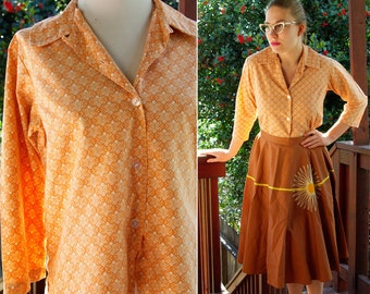 Peach and Tan 1950's 60's Vintage Button Down Blouse with Cropped Sleeves size Medium