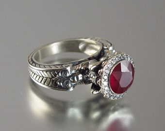 CARYATID 14K gold Ruby ring with diamond halo