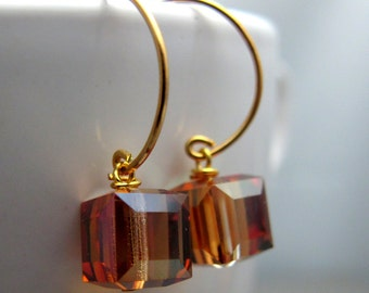 Gold Cognac Topaz Cubes Earrings // Cognac Topaz Swarovski Crystal Cubes // Gold Plated Wire Wrapped Earrings (Last Piece)