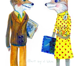Fantastic Mr. and Mrs. Fox ... limited edition art print ...custom name option available