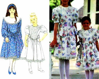 1990s Girls Dress Attached Petticoat Jessica McClintock Simplicity 8253 Vintage Sewing Pattern Childrens Size 3 - 4 - 5 - 6 UNCUT