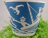 Cute Blue White Vintage Kids Beach Bucket