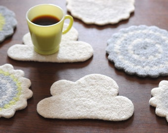SALE | 100% Wool Felt Cloud Fiber Art - Natural Off-White - Coaster or Trivet