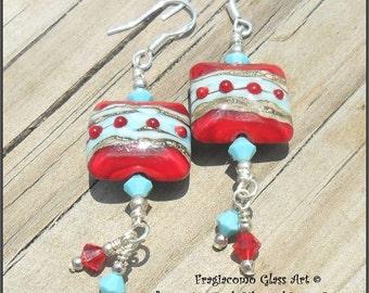 Lampwork Earrings, Turquoise-Ivory-Red, Sterling Artisan Handmade SRA LETEAM Glassymom