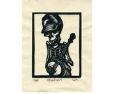 "Skeleton Banjo Picker ""Hellbilly"" original linocut."
