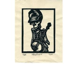 """Skeleton Banjo Picker """"Hellbilly"""" original linocut."""