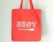 AHOY NAUTICAL TOTE red screen printed cotton canvas bag