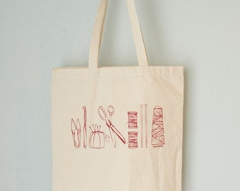CRAFTY TOOLS Tote- screen printed canvas bag- Scissors, snippers, pincushion, knitting needles, crochet hook, thread spools and cones