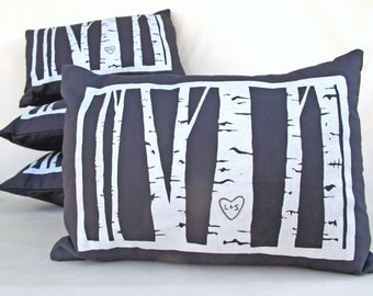 custom birch tree pillow cover -- personalized with your initials -- wedding gift, cotton anniversary gift, gifts for couples, by cozyblue