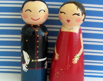 Hand Painted Love Boxes Custom U.S. Marine Corps Ball portrait Cake Topper Peg Dolls Wood