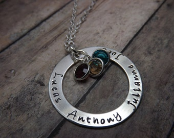 Mommy necklace-Handstamped-personalized-sterling silver necklace- washer-crystal