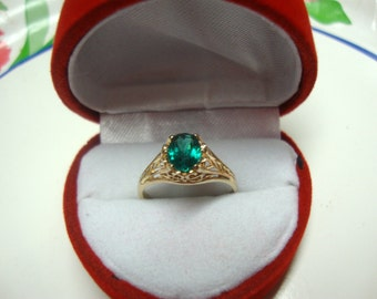 Gold filigree Ring eco-friendly 14k white or yellow gold -USA Custom Made in your Size- Green Topaz 1.1 ct 7x5 mm oval May birthstone color