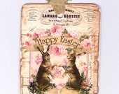 Vintage Easter Tags - Shabby  - Rabbits - Easter Eggs -  French - Happy Easter