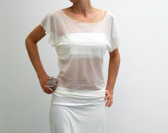 Ivory sheer top, romantic tunic top, short cap sleeves