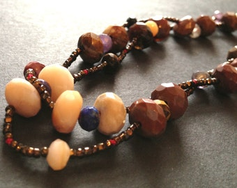 natural agate long necklace