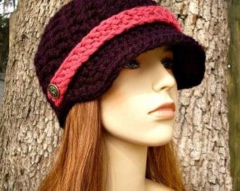 Crochet Hat Womens Hat Purple Newsboy Hat - Jockey Cap in Eggplant Purple Crochet Hat - Purple Hat Purple Beanie Womens Accessories