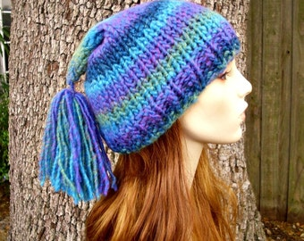 Knit Hat Womens Hat - Toboggan Hat in Blue Ocean - Blue Knit Hat Blue Hat Blue Beanie Blue Pixie Hat Womens Accessories Winter Hat