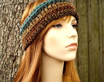 Womens Crochet Headband - Crochet Turban Headband in Chocolate Peacock Brown Teal - Womens Accessories