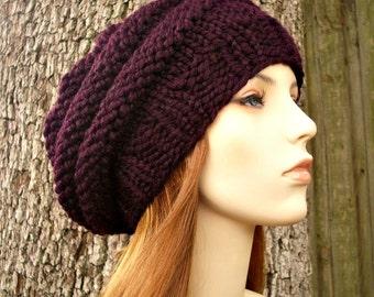 Knit Hat Womens Hat - Original Beehive Beret Hat in Eggplant Purple Knit Hat - Purple Hat Purple Beret Purple Beanie Womens Accessories