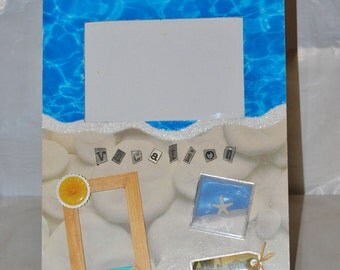 "Scrapbook Page Style Wooden Picture Frame Embellished 8""x11"" Beach Vacation Wall Decor"