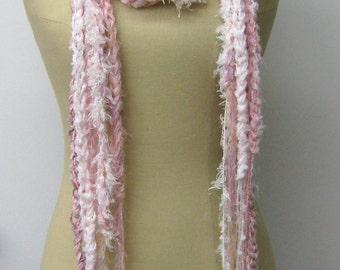 Sale summer scarf, Blush pink, Softest pink braids Gypsy Fringe Scarf skinny lariat Hippie crochet neck wear, woman scarf, spring scarf
