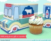 milk truck -  cookie box, cupcake holder, favor box, party centerpiece printable PDF kit - INSTANT download
