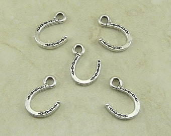 5 TierraCast Lucky Horse Shoe Charms > Cowboy Western Good Luck Charm - Silver Plated Lead Free Pewter - I ship internationally 2281