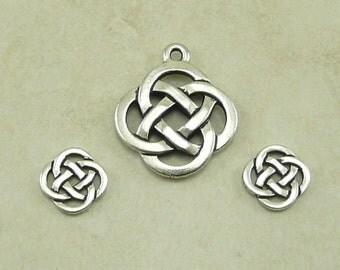 3 TierraCast Open Celtic Knot Round Charms & Pendant Mix > Irish St Patricks - Fine Silver Plated Lead Free Pewter - I ship Internationally