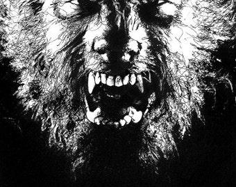 "Print 8x10"" - Wolfman - Portrait Monster Animal Wolf Dog Coyote Horror Dark Art Classic Frankenstein Dracula Halloween Gothic Pop"