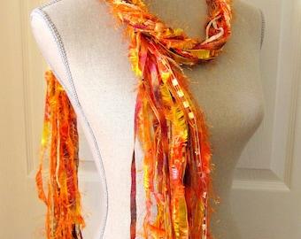 Women Knot Fashion Scarf with Beads - Golden Orange