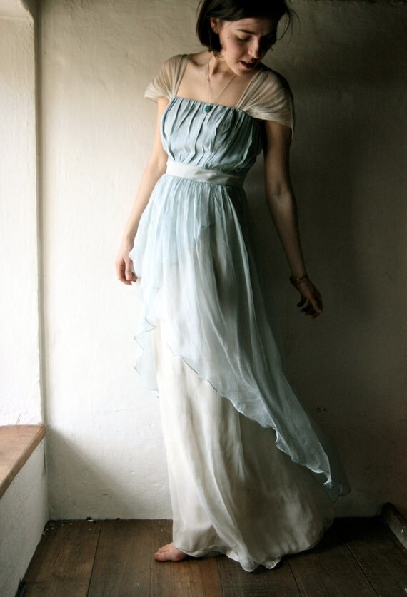 Wedding dress in light blue Naturally dyed silk chiffon