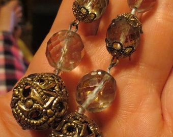 Vintage Gaudy Gold Filigree Aurora Borealis Duster Earrings
