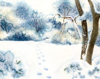 January Snow giclee print with footprints in the snow