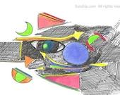 Circle Line Dot Fish Abstract Modern Art Line Drawing
