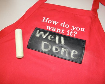 """Working Chalkboard APRON for BBQ Embroidered 34"""" With Usable Chalkboard How do you want it - Ready to Ship rts"""