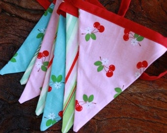 Shabby Chic Bunting.  Aqua, Pink and Cherries Fabric Flag Banner.   Photo Prop, Nursery Decor, Wedding Decoration, Ready To SHIP.