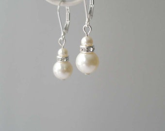 Ivory Pearl Earrings, Pearl and Sterling Earrings, Bridal Earrings, Simple Earrings, Bridal Accessory, Bridesmaid Jewelry, Swarovski, Cream