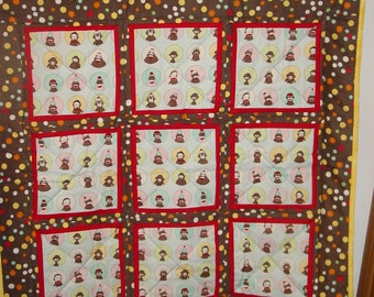 """Quilt Hand Made - Blue Sock Monkey colored blocks brown flannel back-35"""" square"""