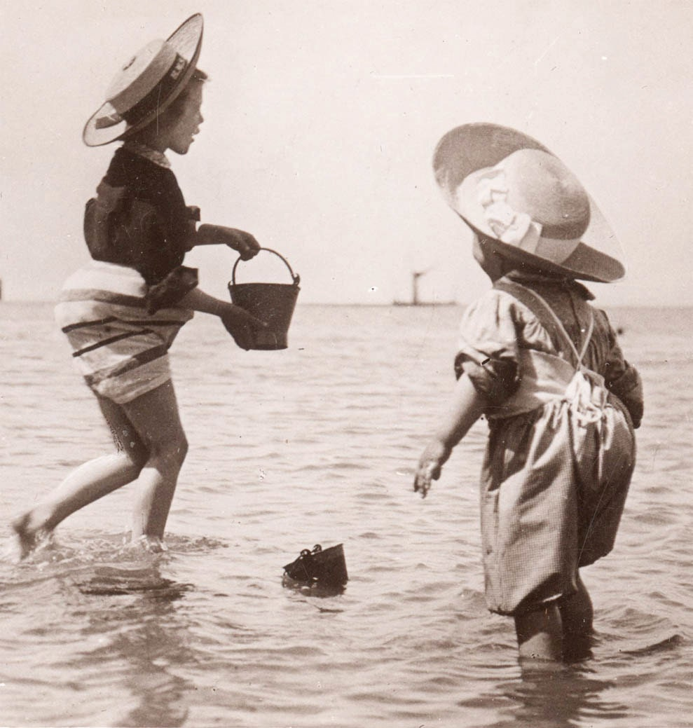 vintage photo children w sand pail and hats play in ocean at. Black Bedroom Furniture Sets. Home Design Ideas