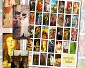 Pre-Raphaelite Women Digital Collage Sheet domino size 1x2 25mm x 50mm