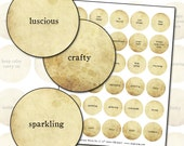 Inspirational Words No. 2  in sepia 1.5 inch circles 38mm digital collage sheet