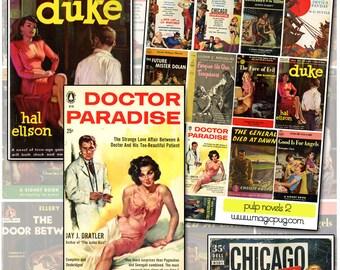 Vintage Pulp Fiction Paperback Novel Covers digital collage sheet No 2 pink yellow black dame detective noir crime fiction 1960's 1950's