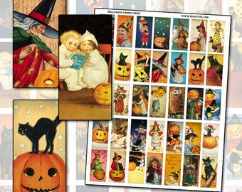 "Antique Halloween domino digital collage sheet 1x2"" 25mm x 50mm for pendants or jewelry"
