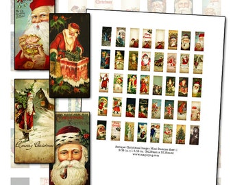 Antique Christmas Mini Domino digital collage sheet  9/16 in x 1 3/16 in (14mm x 30mm) Père Noël Merry Christmas Seasons Greetings