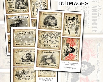Antique Christmas Potion Wine Labels 4.25 x 3.25 digital collage sheet decorations for your holiday dinner parties