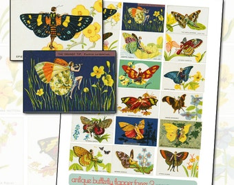 Antique Fantasy Butterfly and Moth Flapper Digital Collage Sheet II 1920s