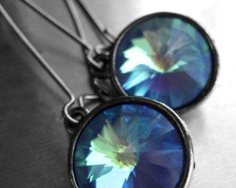 Indigo Ghost Blue Rivoli Crystal Earrings - Stunning Swarovski Crystals in Cobalt Blue, Mint Green, Aqua, Blue Round Crystal Earrings