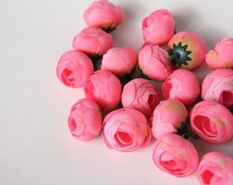 5 MINI Ranunculus in Pink - silk artificial flower, millinery flower, small flower - ITEM 0951