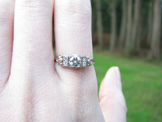Fiery Art Deco Diamond Engagement Ring Clean Old European